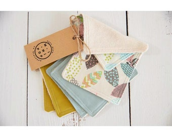 Machine washable and reusable wipes in organic color and jersey Terry organic cotton