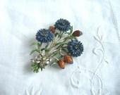 Exquisite birthday brooch - Exquisite cornflower brooch - Exquisite hand painted enamel flower brooch