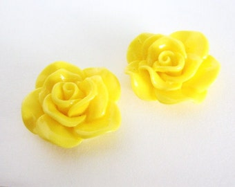 Yellow 30mm Rose Flower Cabochon Resin Cab Kawaii 6pcs