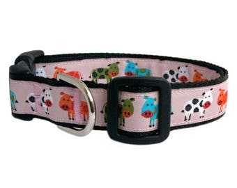 """Cows Dog Collar 3/4"""" Spotted Moo Cows Black Dog Collar"""