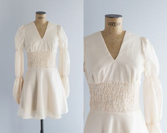 1970s Ivory Skater Dress - Vintage 70's Bohemian Clothing - Bamba Dress