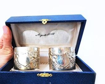 SALE Vintage Set of Two Italian Silver 800 Napkin Holders, Silver Napkin Rings Set, Italian Boxed set Serviette Holders,Wedding Table Decor