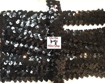 1 Inch Stretch, Black Sequin Trim. 4.75 yards.  Great for costumes, dance, theater, pageant.