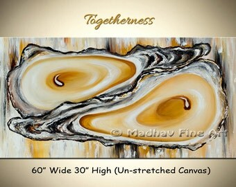 Modern Art, Large Abstract Acrylic painting, Large wall art, Coastal art, Oyster painting, Size :  60'' x 30'' (152cm x 76cm)
