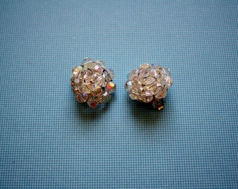 Small Rhinestone Cluster Silvertone Clip Earrings/ Vintage Clip On Earrings