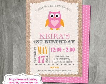 Owl Birthday Party Invitation - Burlap Background, Custom, Diy, Party Printable, Backside Included, Personalized, Digital Jpeg or Pdf File