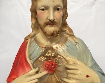 Mid Century Chalk Ware Bust of Jesus - Sacred Heart - Beautiful