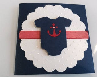 Set of 30 Nautical Onesie Baby Shower Invitations, Customize Any Color