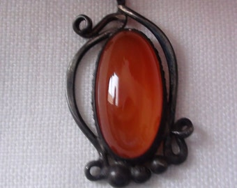 Vintage 1960's - 1970's Carnelian and Sterling Pendant.  Beautiful color..