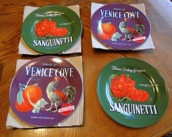 Oneida Vintage Produce Label Plate Collection, Reproduced Advertising Plates, Set of 4, Collector Series I