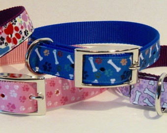 Bones and Paws Ribbon Collars for Large Dogs, Colorful Manly and Feminine Dog Collars and Leashes