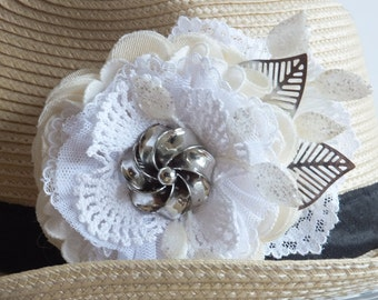 Cream White and Silver Fabric Flower Hair Barrette, Wedding Hair, Wedding Corsage, Brooch, Headband You Choose!