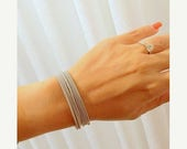 SALE - Thin silver bracelet - Strech bracelet - Spring bracelet - Layered bracelet - Flexible bracelet - Elastic band