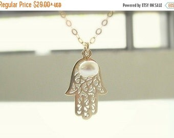 SALE - Gold hamsa necklace - Hamsa necklace - White pearl necklace - Bridesmades necklace - Mother's day necklace