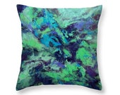 Blue and Green Pillow Cover, Decorative Pillow, Throw Pillow, Abstract Art Printed Pillow, Cushion Cover, Accent Pillow, Gift for Her