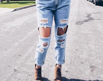 Distressed mom jeans /boyfriend denim/jeans/destroyed/grunge/plus size/S-XXL/All Brands/levis lee wrangler