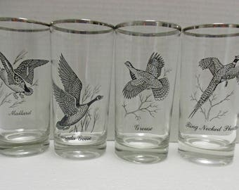 Federal Glass - Water Glasses Tumblers - Game Birds with Silver Rims - Set of 4 (2 Sets Available)