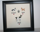 Cross Stitched Three mix doggies in one frame.