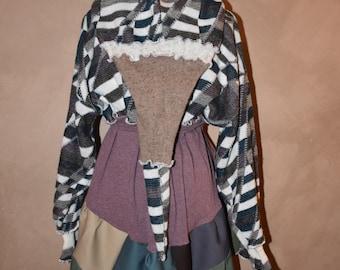 Elf Coat, Gypsy Dress, Upcycled Sweater, Hippie Coat, Fairy Sweater, Festival Dress, Sweater Dress, Patchwork Coat, Pixie Coat, Boho Jacket