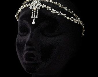 Bridal Rhodium Vine Freshwater Pearl Bridal Rhinestone Accent Headband