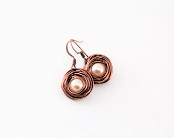Copper Birds Nest Pearl Earrings