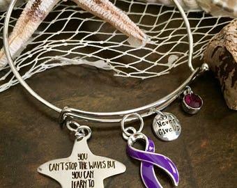 Purple Ribbon Charm Bracelet / Learn to Surf / Pancreatic Cancer, Lupus, Cystic Fibrosis, Fibromyalgia, Spoonie, Chronic Illness, Crohn's