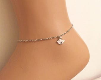 Silver Bird Charm Anklet ,Silver Jewelry,Birthday gift,Silver Bird Ankle Bracelet,Gift,Chic,Animal,Gold Jewelry,Fashion,Trends, Accessory