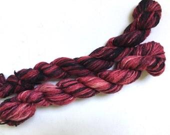 Handspun Hand Dyed Wool Blend Fingering Yarn Pink Black 2 Ply Yards 1.6 Oz 210 Yards