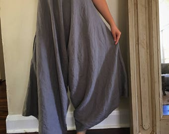 Women's Charcoal Linen Lover Overalls.Free size.