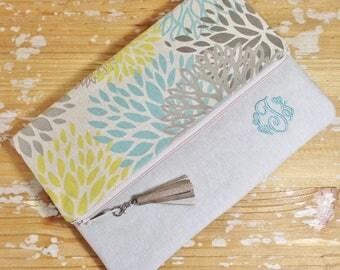Floral Foldover Clutch with Linen Trim - Monogram Option