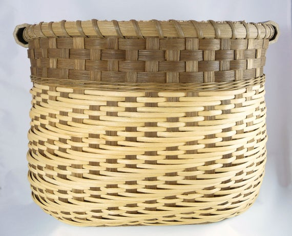 """Large Reed or Wicker Storage Basket for Laundry, Toys, Sewing, or Yarn """"Carabelle"""""""