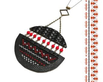 Ethnic Necklace.Ethnic Jewelry.Traditional Romanian Necklace. Folk Art Embroidery Motifs. Boho Necklace. Traditional Ethnic Necklace.