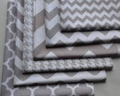 Gray and White Fabric Bundle, Riley Blake, Cotton Sewing Material, 6 Fat Quarters, Quatrefoil, Wave, Chevron, Quilting, Craft, Clothing