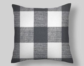 Gray Pillow, Gray  Throw Pillow, Pillow Cover, Plaid Pillow, Buffalo Check Pillow, Buffalo Plaid. Euro Sham Farmhouse. Cushion. ALL Sizes
