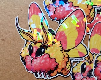 Rosy Maple Moth (dryocampa rubicunda) Holographic Sticker