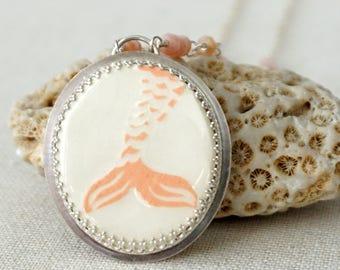 Ceramic Mermaid Pendant with Pink Peruvian Opal Rosary Chain - Mermaid Jewelry, Mermaid Tail, Mermaid Necklace - Ceramic Jewelry