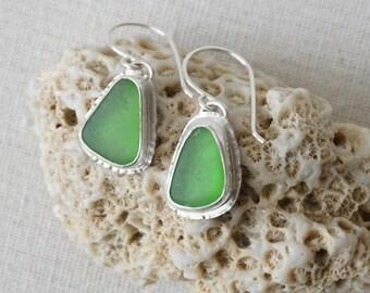 Kelly Green Sea Glass Earrings - Natural Sea Glass, Genuine Sea Glass - Sea Glass Jewelry