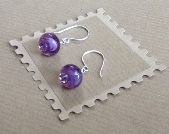 Purple Earrings, Lilac Earrings, Drop Earrings, Lilac Lampwork Earrings, Lilac Drop Earrings, Lampwork Earrings