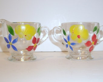 Vintage Hand Painted Glass Creamer and Sugar Bowl, 1960, Antique Home Decor, Kitchen, Dining, Party Supplies, Home and Living, Esty Seller