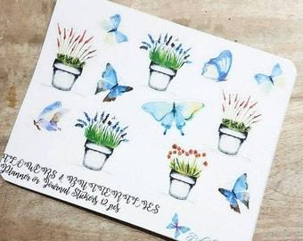 Flowers and Butterflies Watercolor deco sticker sheet