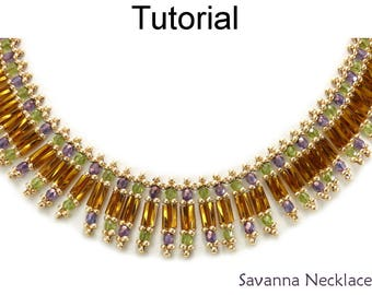 Beading Tutorial Pattern - Beaded Necklace - Bugles and Fire Polished Beads - Simple Bead Patterns - Savanna Necklace #24921