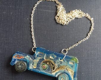 Necklace contemporary truly unique blue resin car with watch parts & glass beads