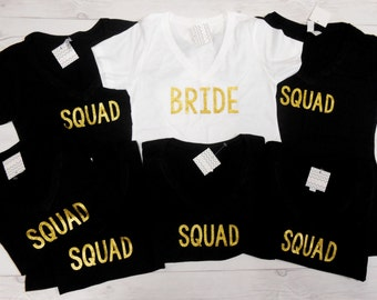Gold glitter squad etsy for Bucket squad gold shirt
