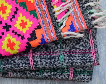 Hand loomed wool vintage Kinnaur Himalayan blanket, tartan checked cosy throw tribal ethnic bohemian Himalayan fall winter rug