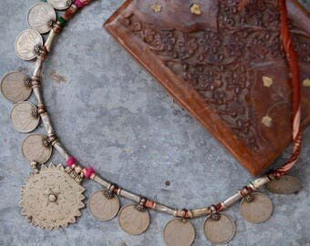 Banjara tribal necklace Indian vintage gypsy boho etched amulet pendant coins beads and Kantha rope old ethnic nomad