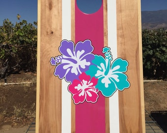 Hawaiian flower tournament Cornhole game