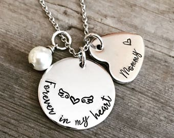 SALE - Forever in my heart  - Hand Stamped - Memory Jewelry  Rememberance - Keepsake - Angel Wings - Personalized Jewelry - Bereavement