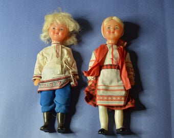Two Vintage Greek Dolls