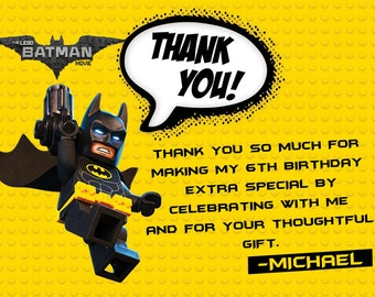 NEW for 2017!! Lego Batman Movie Thank You Card (Digital File)