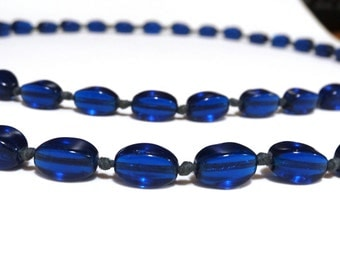 Vintage Glass Bead Necklace Cobalt Blue Art Deco Handmade Art Glass Beads Hand Knotted Antique Jewelry For Supply Repurpose